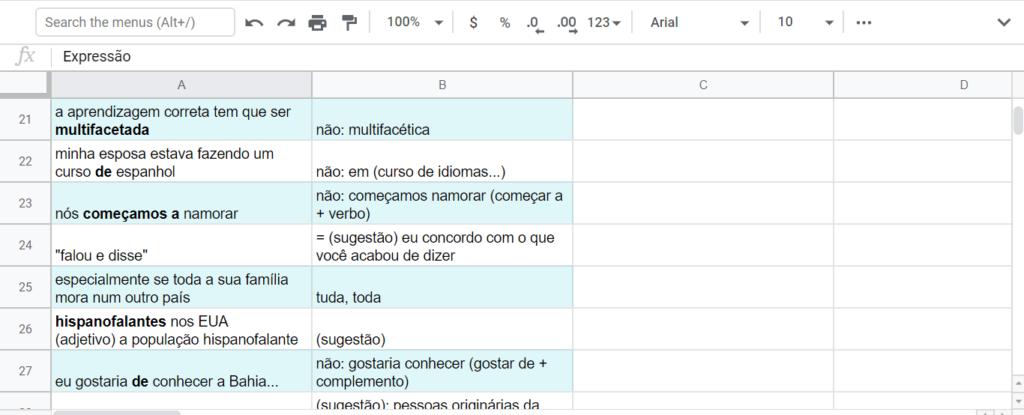 Portuguese lesson notes
