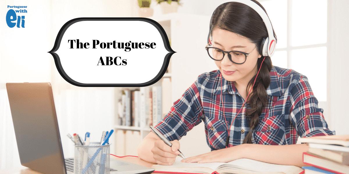 girl studying the Portuguese alphabet