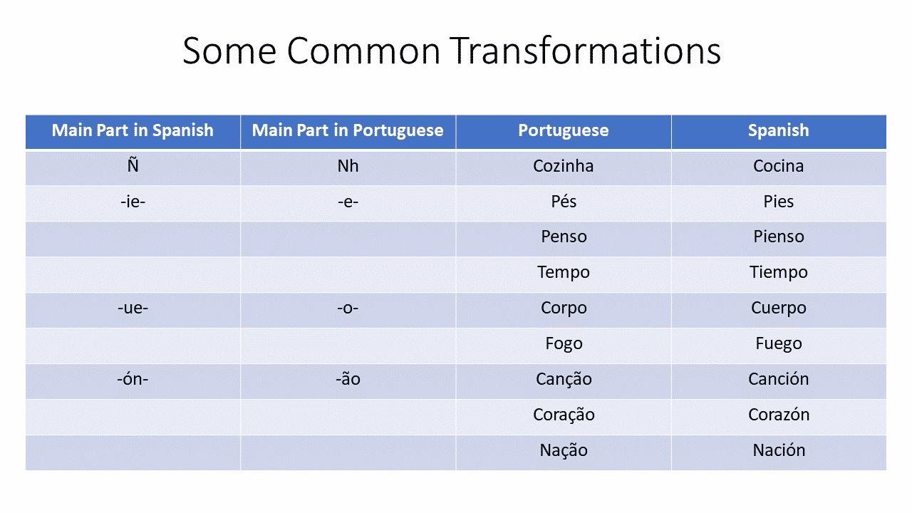 table comparison spanish and portuguese similarity