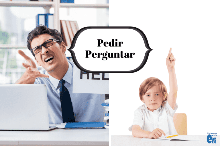 difference between pedir and perguntar in portuguese with illustration